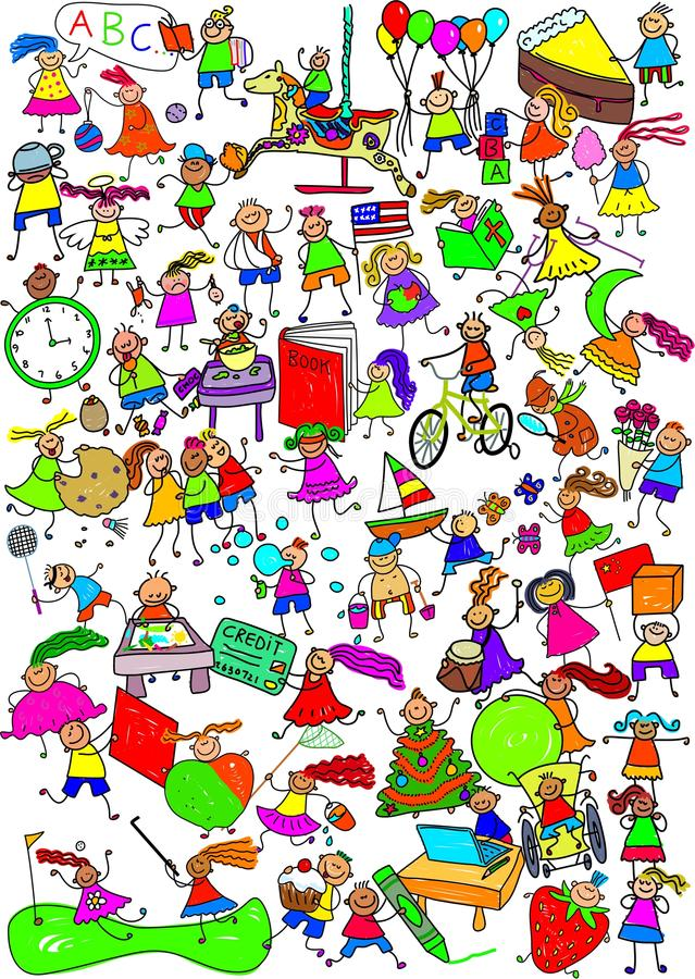 Kinder sind große nette Karikatur-Montage lizenzfreie abbildung