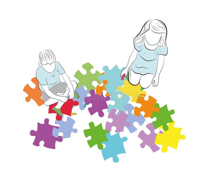 Kinder sitzen über den Puzzlespielen mit dem Symbol von Autismus Auch im corel abgehobenen Betrag lizenzfreie abbildung