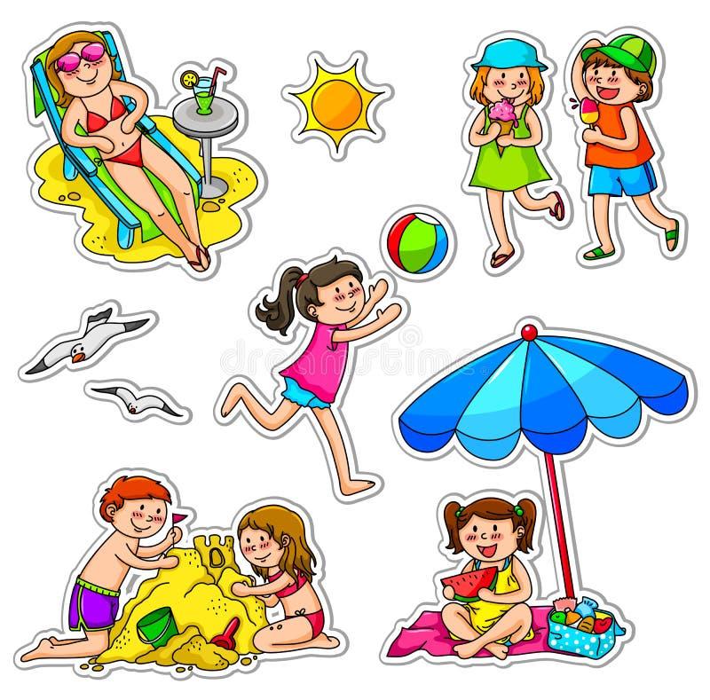 Kinder am Sommer vektor abbildung