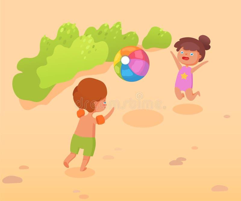 Kinder spielen auf Vektor-Farbillustration des Strandes flacher lizenzfreie abbildung