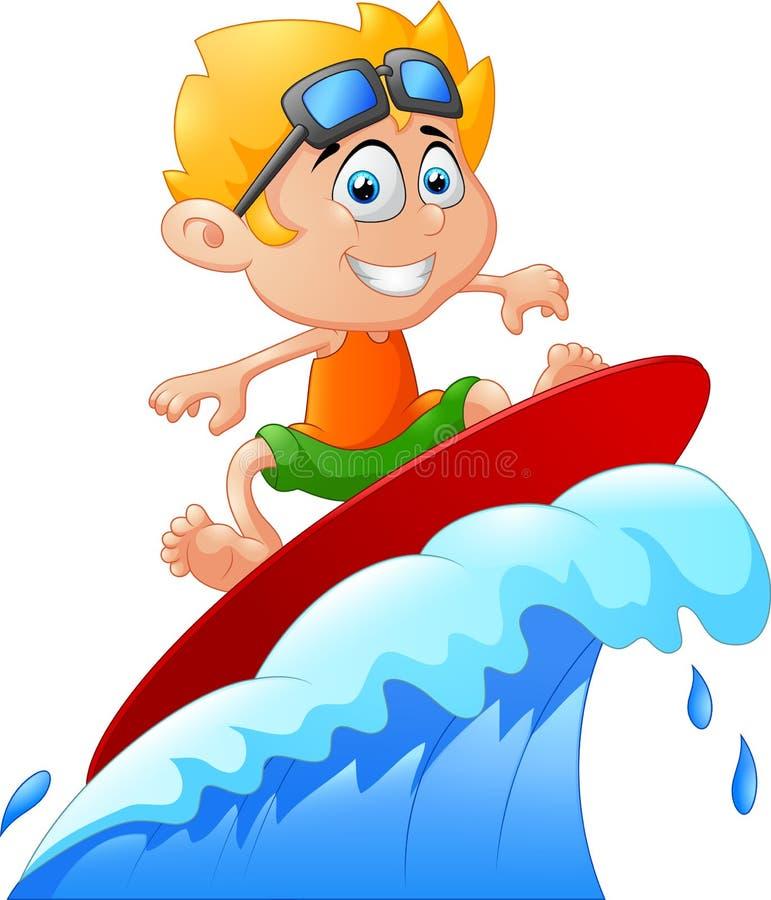 Kinder spielen das Surfen auf Surfbrett über großer Welle lizenzfreie abbildung