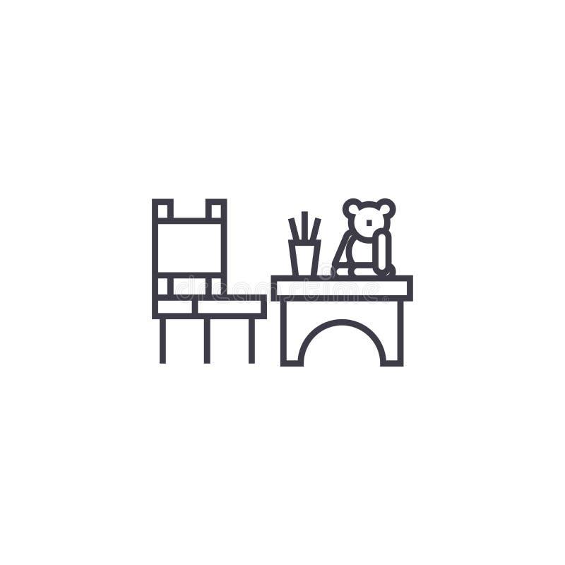 Kinder spielen Tabellenvektorlinie Ikone, Zeichen, Illustration auf Hintergrund, editable Anschläge lizenzfreie abbildung