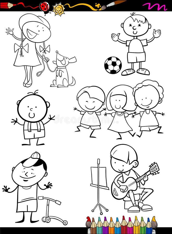 Kinder stellten Karikaturfarbtonseite ein lizenzfreie abbildung
