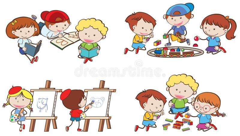 Kinder tun verschiedene Tätigkeiten stock abbildung