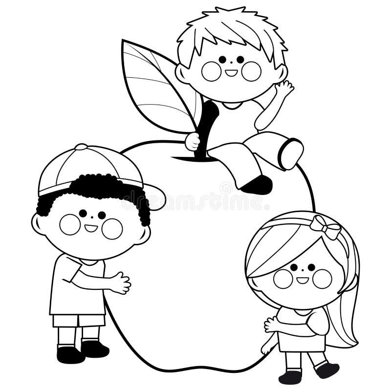 Kinder und Apfel stock abbildung