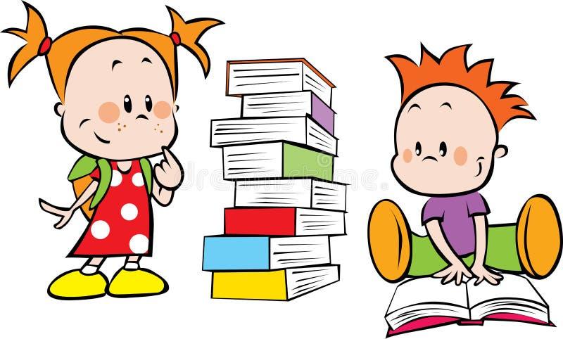 Kinder und Bücher lizenzfreie abbildung
