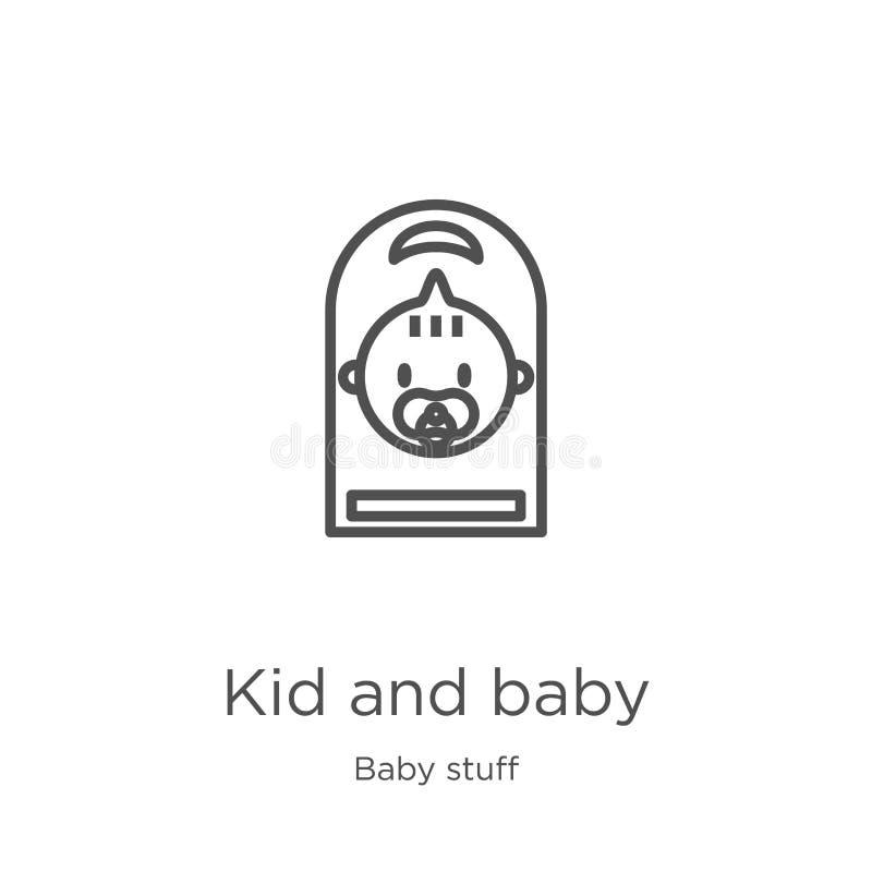 Kinder- und Babyikonenvektor von der Babymaterialsammlung Dünne Linie Kind und Babyentwurfsikonenvektorillustration Entwurf, d?nn stock abbildung