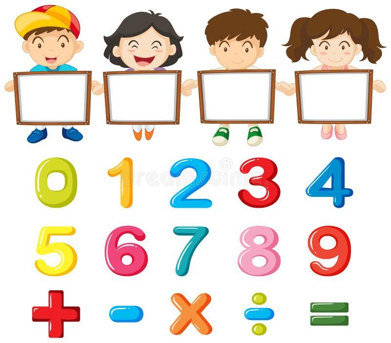 Kinder und bunte Zahlen stock abbildung