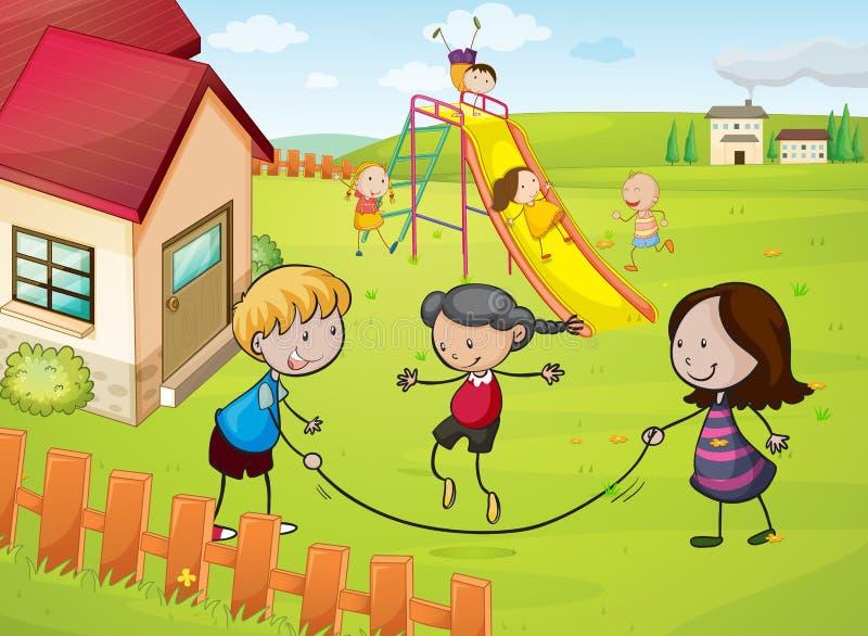 Kinder und ein Haus vektor abbildung