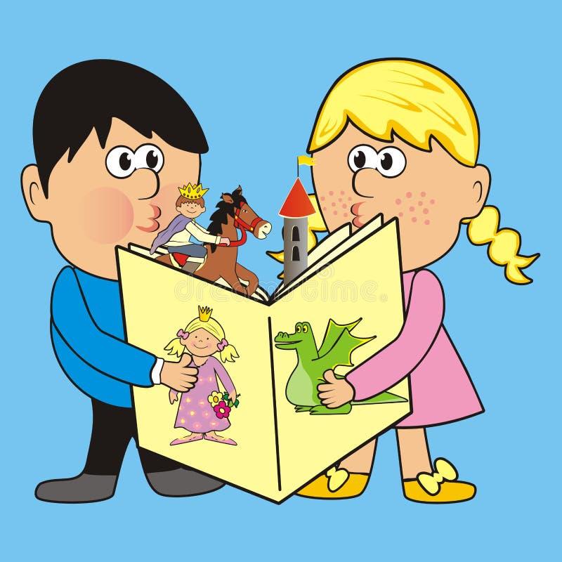Kinder und ein Märchenbuch, Vektorillustration lizenzfreie abbildung