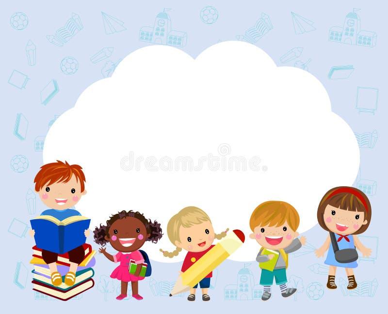 Kinder und Feld stock abbildung