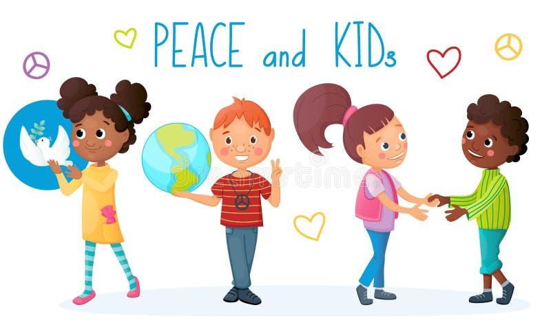 Kinder und Friedenskonzept M?dchen mit wei?er Taube in ihren H?nden Jungen- und Erdkugel Kindergriffh?nde Freundschaftliche Bezie lizenzfreie abbildung