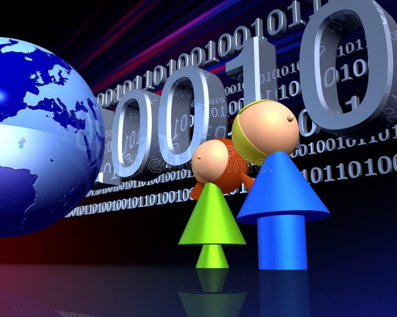 Kinder und Gesamt-Netzwerk lizenzfreie abbildung