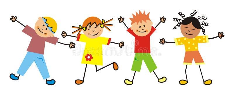Kinder und Gymnastik, vier Kinder, zwei Mädchen und zwei Jungen lizenzfreie abbildung