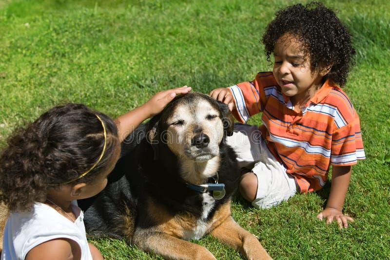 Kinder und Haustiere stockfotografie