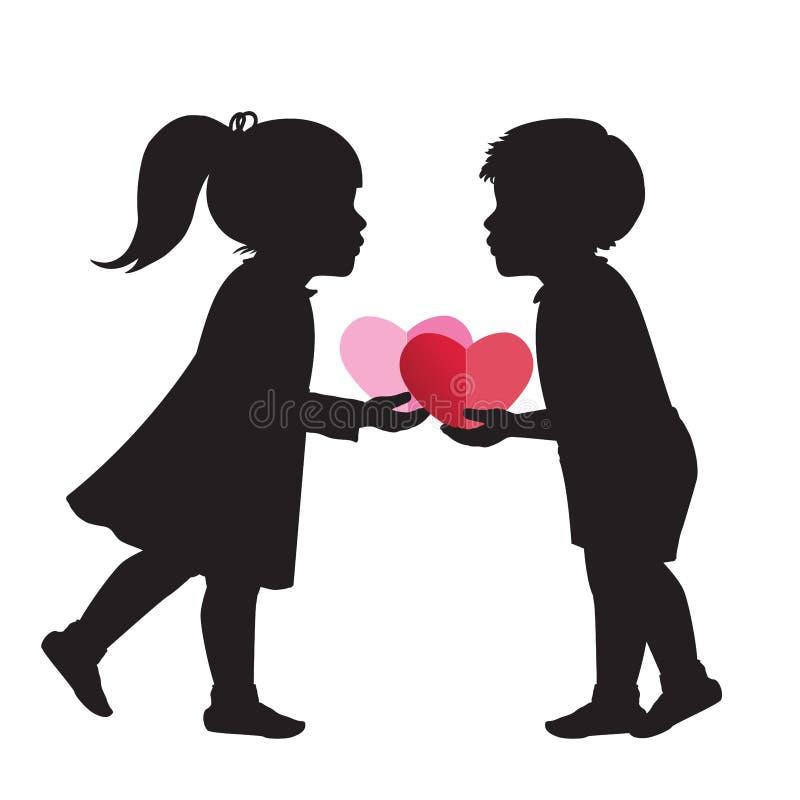 Kinder und Herzen lizenzfreie abbildung