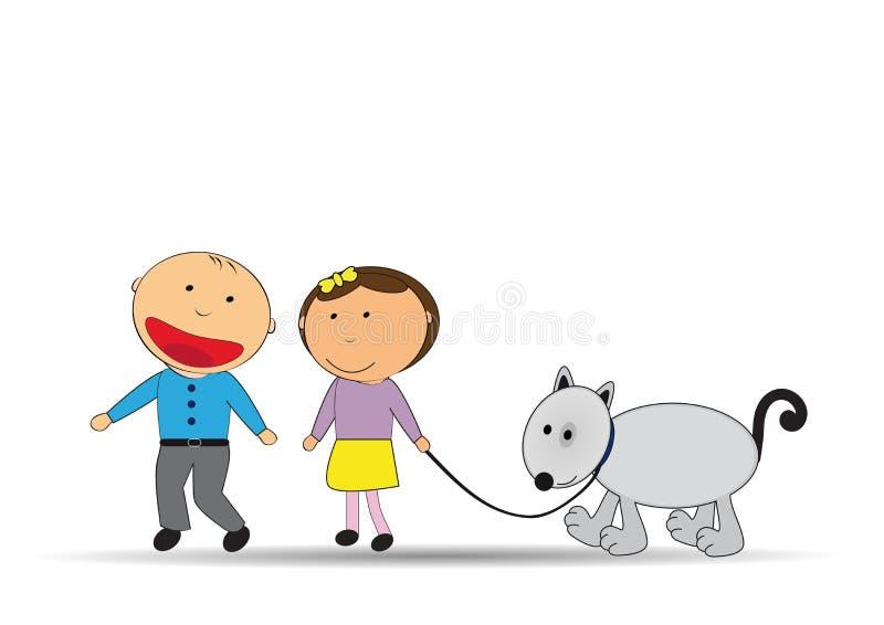 kinder und hund stock abbildung illustration von hund