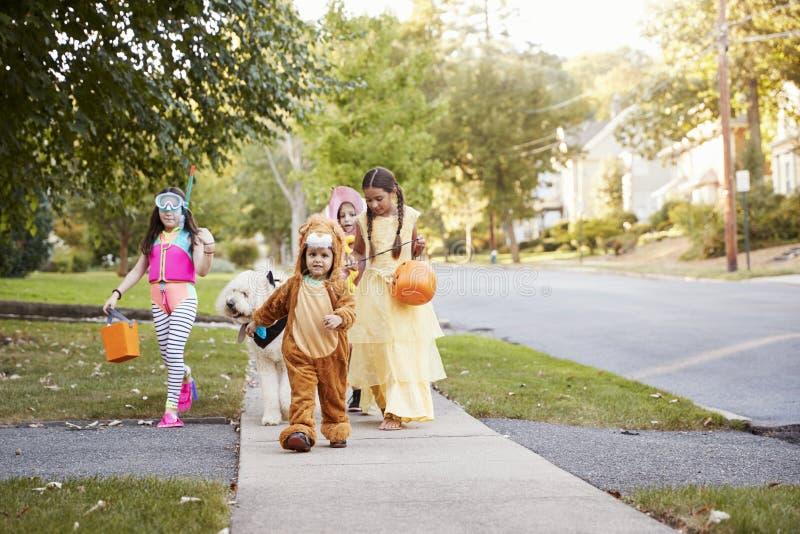 Kinder und Hund in Halloween-Kostümen für Trick oder die Behandlung lizenzfreie stockfotografie