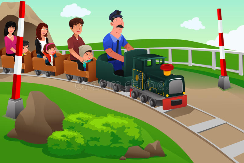 Kinder und ihre Eltern, die einen kleinen Zug reiten vektor abbildung