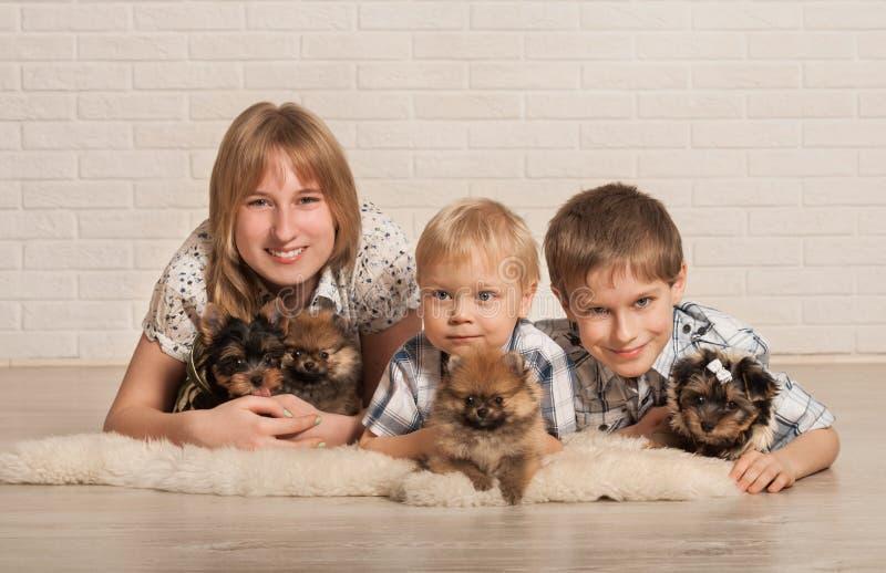 Kinder und kleine Hunde lizenzfreie stockbilder