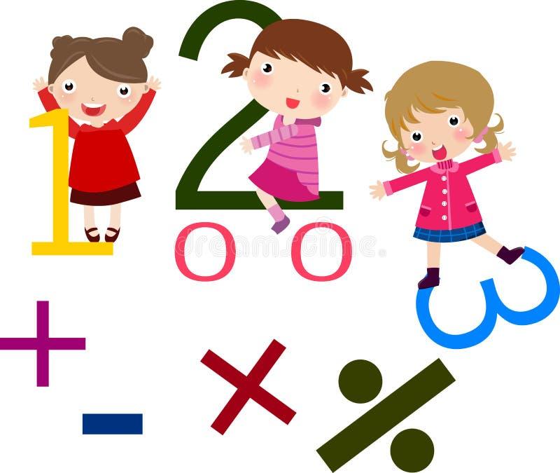 Kinder und Mathe lizenzfreie abbildung