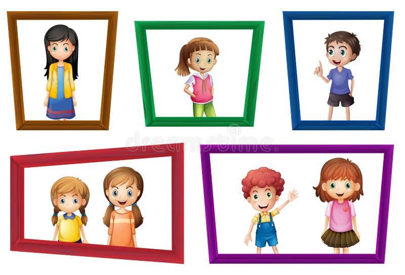 Kinder und Rahmen vektor abbildung
