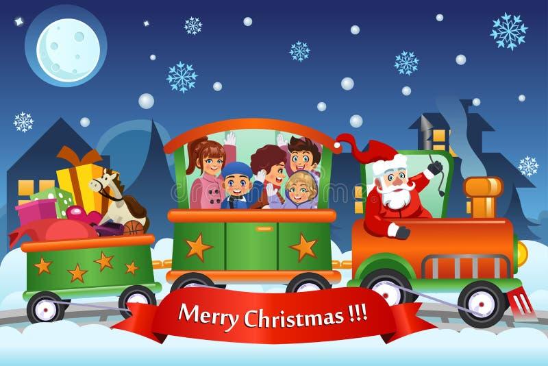 Kinder und Santa Claus auf Zug-tragenden Weihnachtsgeschenken stock abbildung