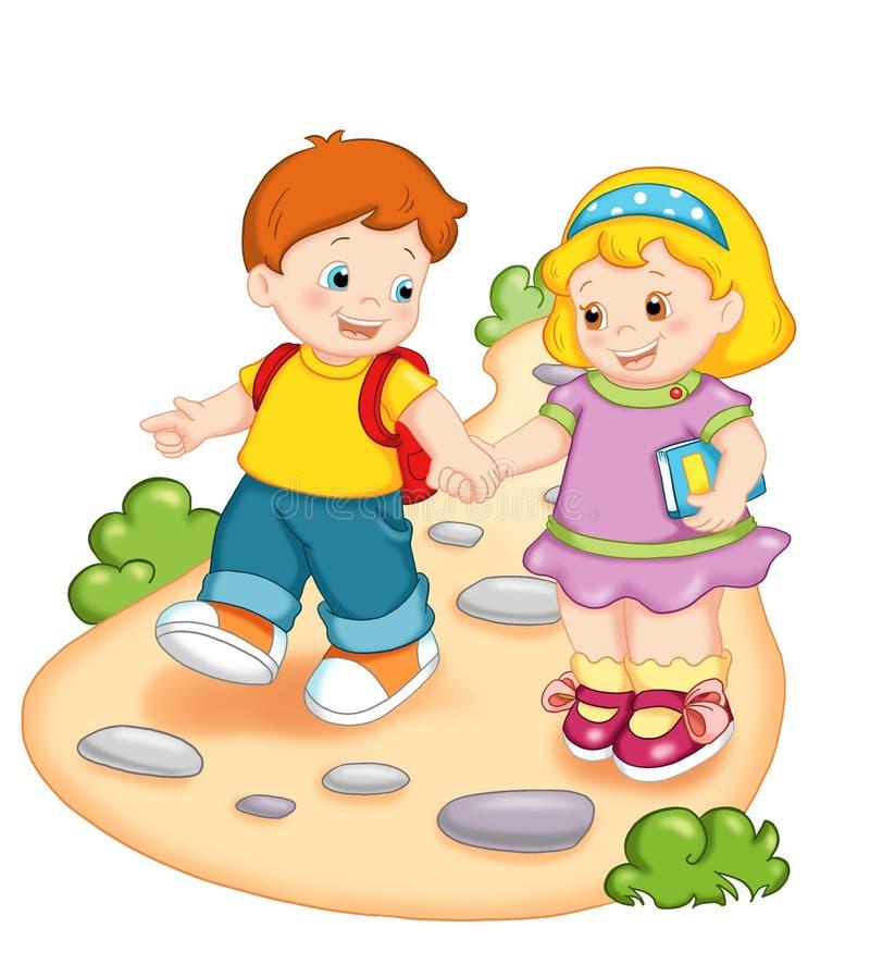 Kinder und Schule stock abbildung