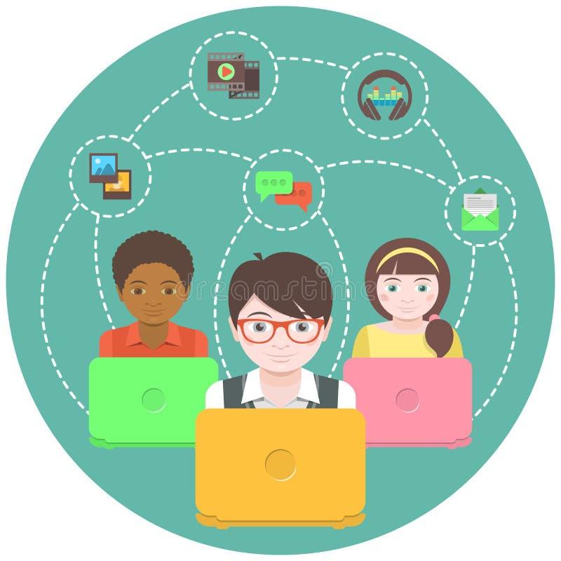 Kinder und Social Networking vektor abbildung