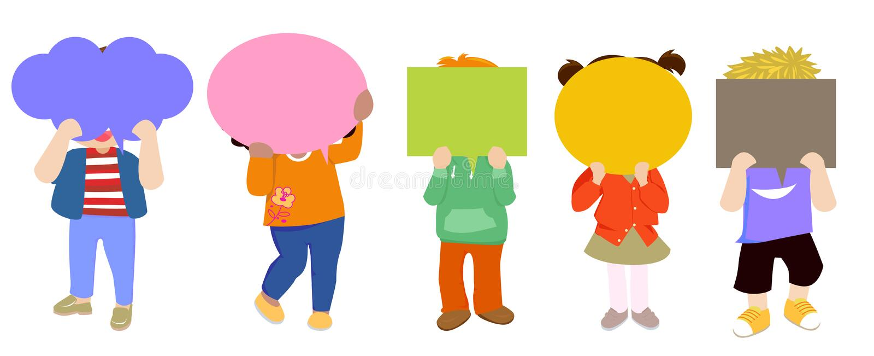 Kinder und Spracheballon stock abbildung