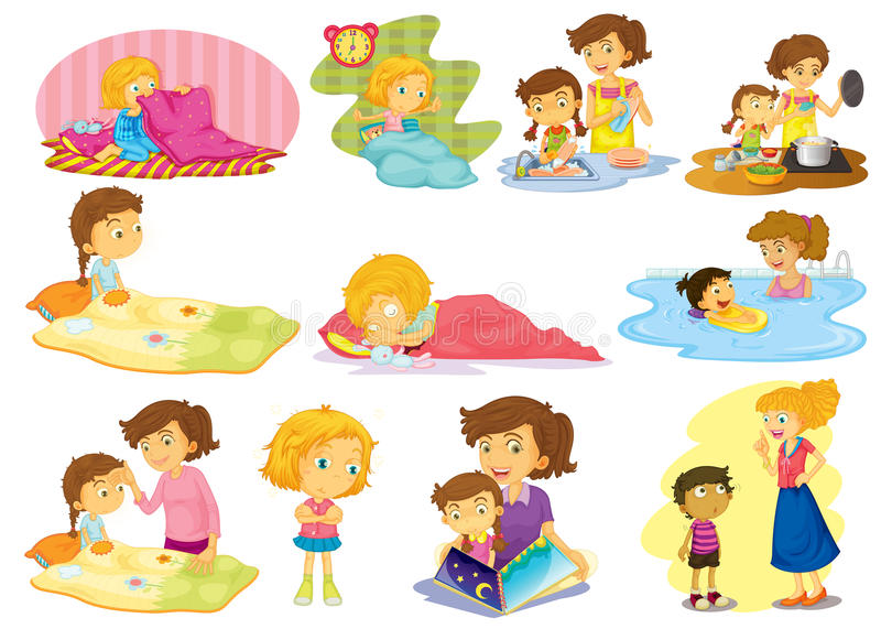 Kinder und Tätigkeiten lizenzfreie abbildung
