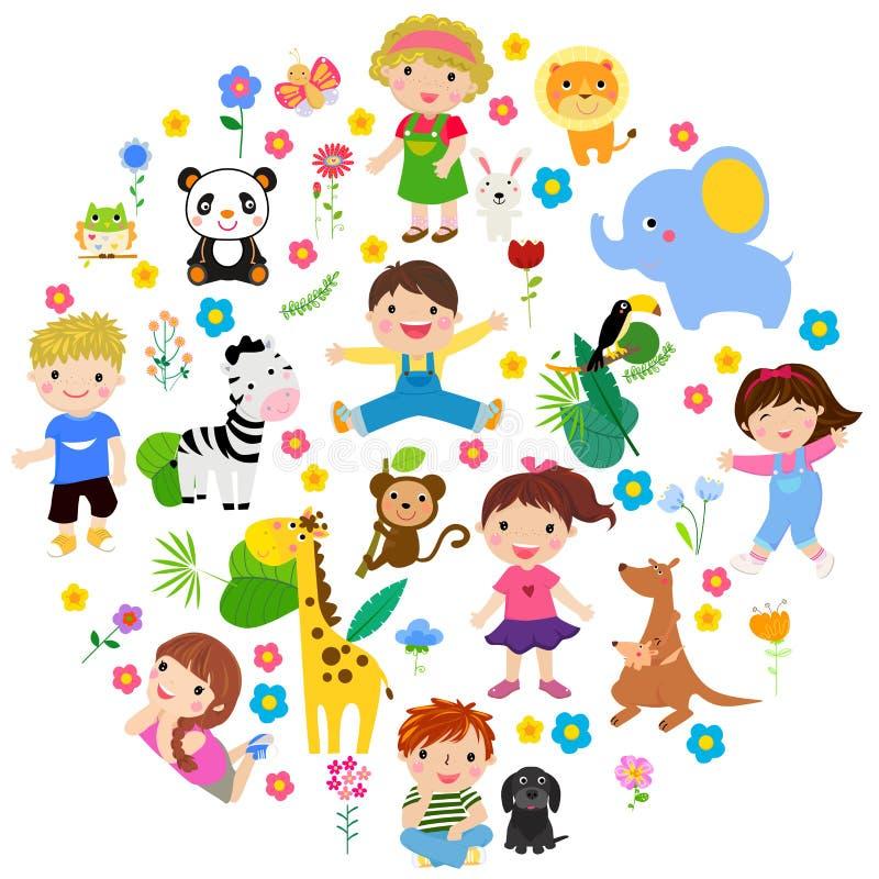 Kinder und Tier stock abbildung