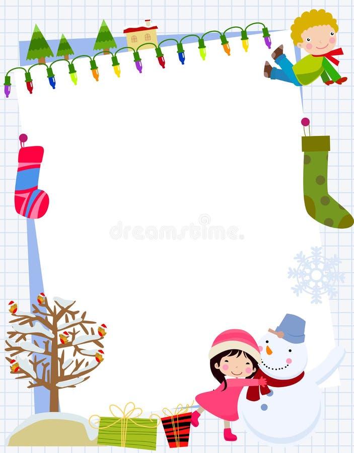 Kinder und Weihnachtsrahmen lizenzfreie abbildung