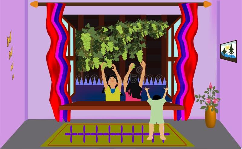 Kinder und Weintrauben Zimmer Aussicht