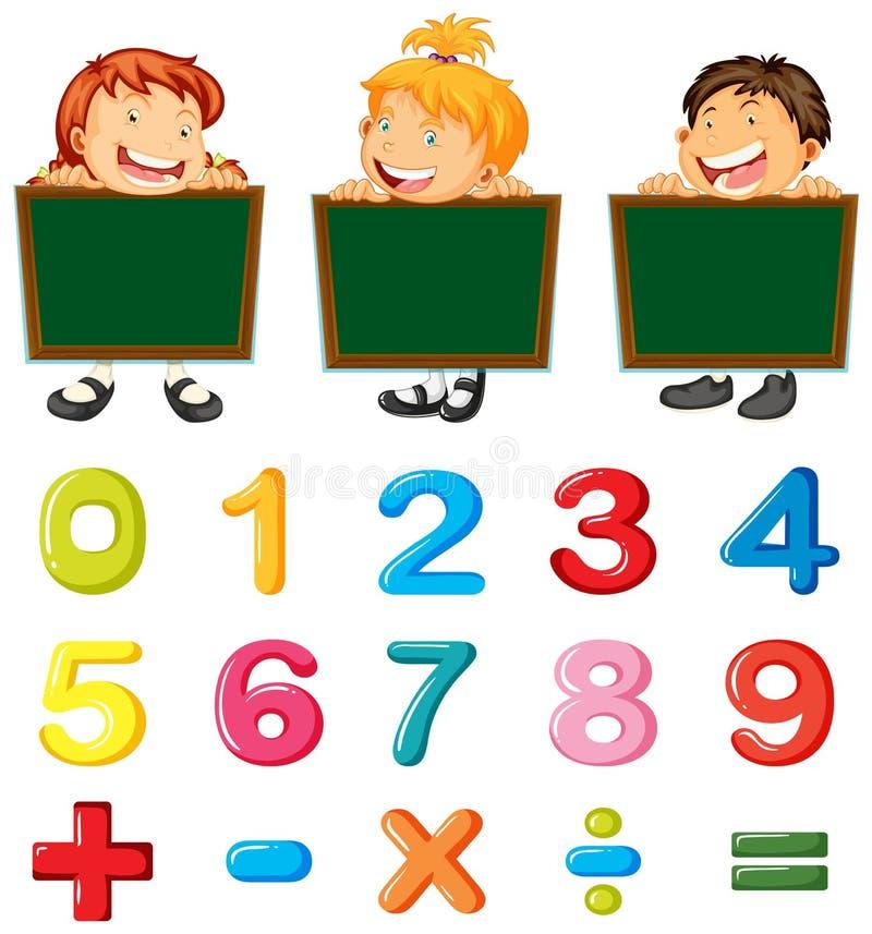 Kinder und Zahlen und Zeichen lizenzfreie abbildung