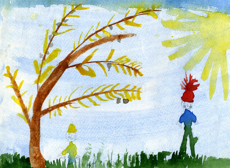Kinder unter dem Baum lizenzfreie abbildung
