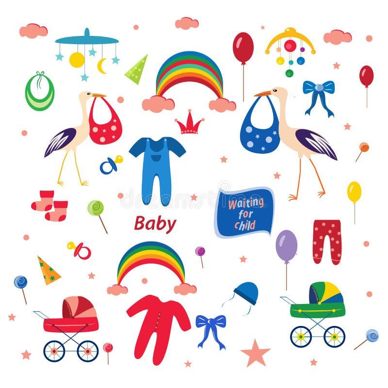 Kinder vector Satz Storch und Regenbogen und Kinderwagen stock abbildung