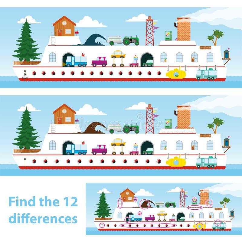 Kinder Verwirren Schiff, Um Die 12 Unterschiede Zu Beschmutzen ...