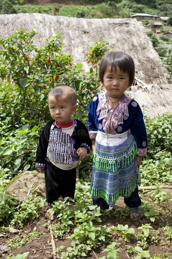 Kinder von Asien, ethnische Gruppe Meo, Hmong stockfotos