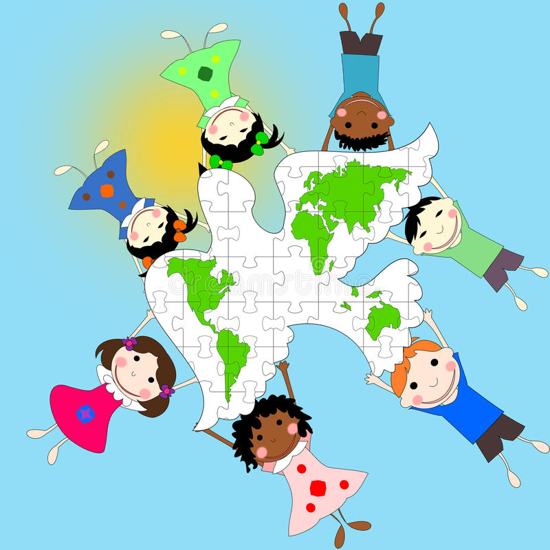 Kinder von verschiedenen Rennen mit einer Taube und einer Karte der Welt, vektor abbildung