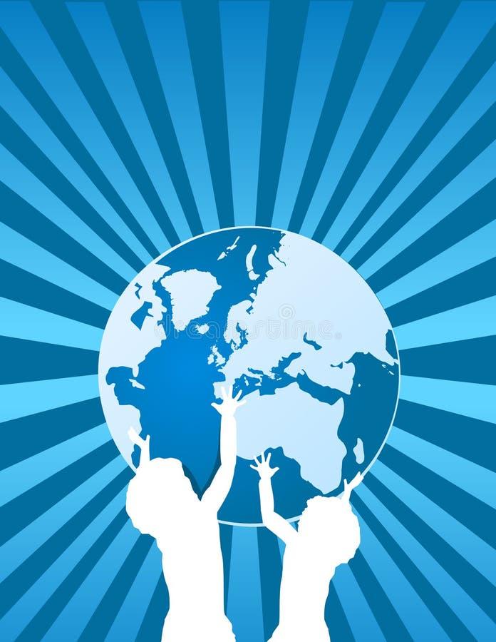 Kinder, welche die Erde anhalten lizenzfreie abbildung