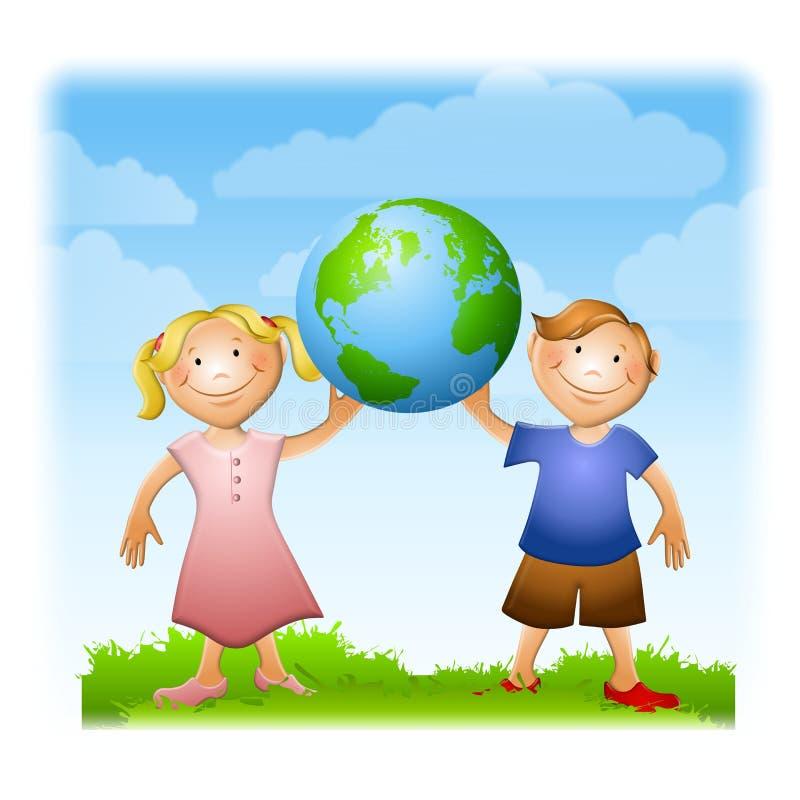 Kinder, welche die Erde halten stock abbildung