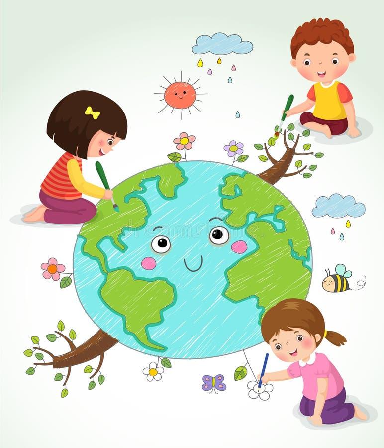 Kinder, welche die Erde zeichnen vektor abbildung