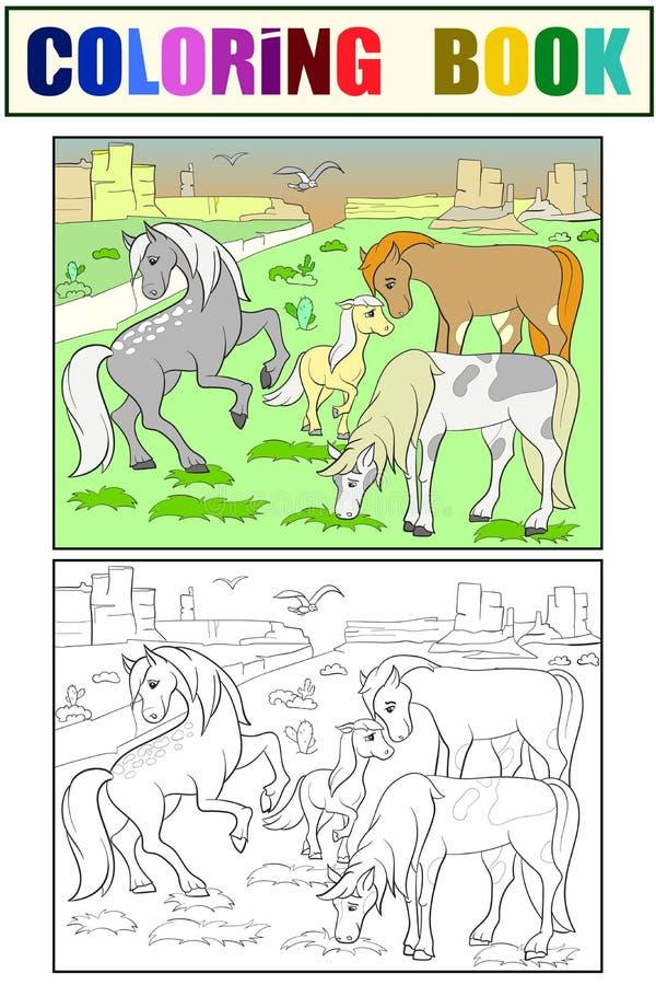 Kinder, welche die Karikaturpferde weiden lassen auf Wiesenvektor färben lizenzfreie abbildung