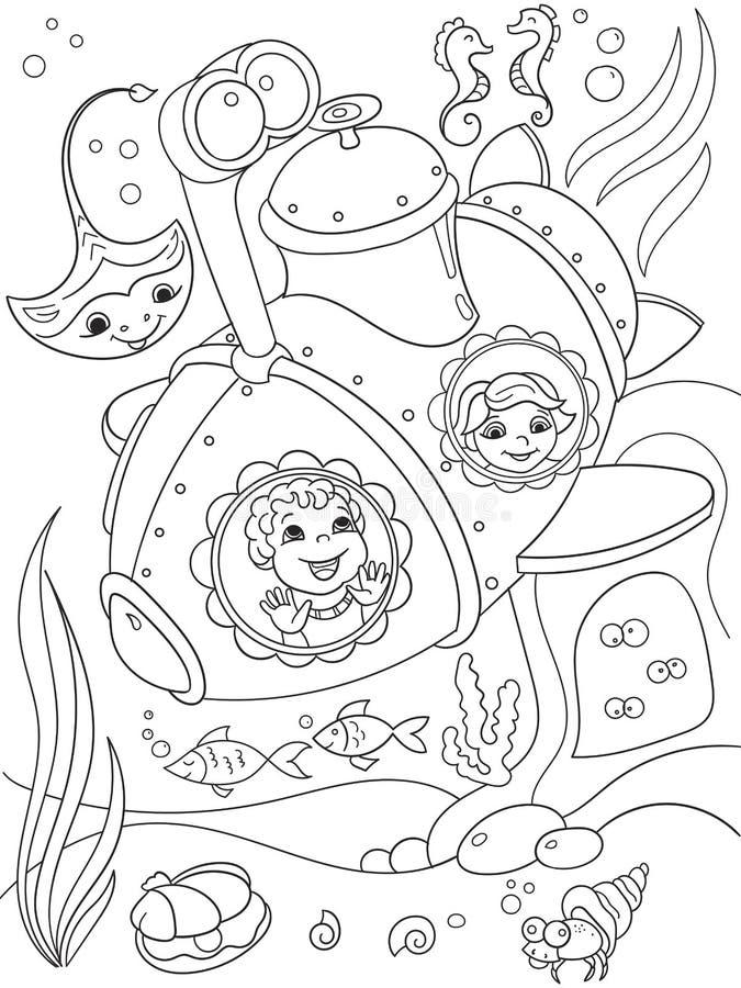 Kinder, welche die Unterwasserwelt in den Seiten eines Unterseebootfarbtons für Kinderkarikatur-Vektorillustration erforschen stock abbildung