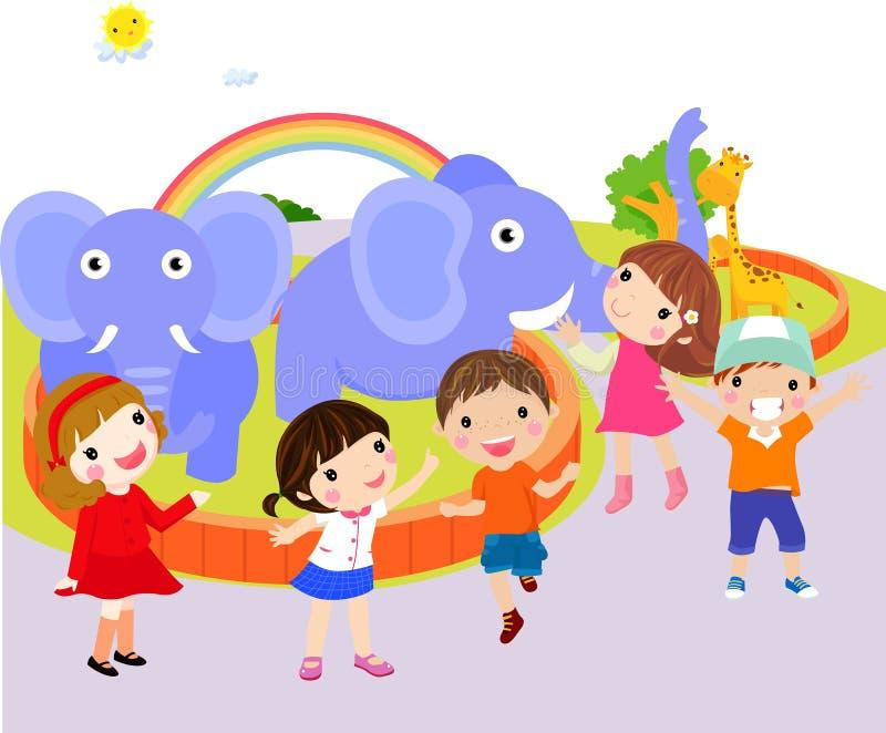 Kinder am Zoo lizenzfreie abbildung