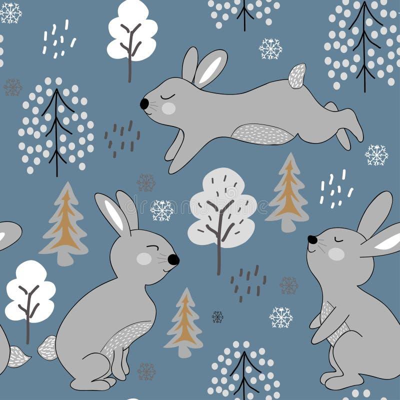 Kinderachtig naadloos patroon met konijnen de illustratie van het de winterontwerp voor stof, textiel, behang, kleren vector illustratie