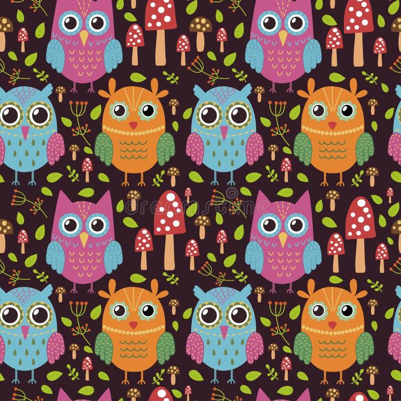 Kinderachtig naadloos patroon met leuke uilen royalty-vrije illustratie