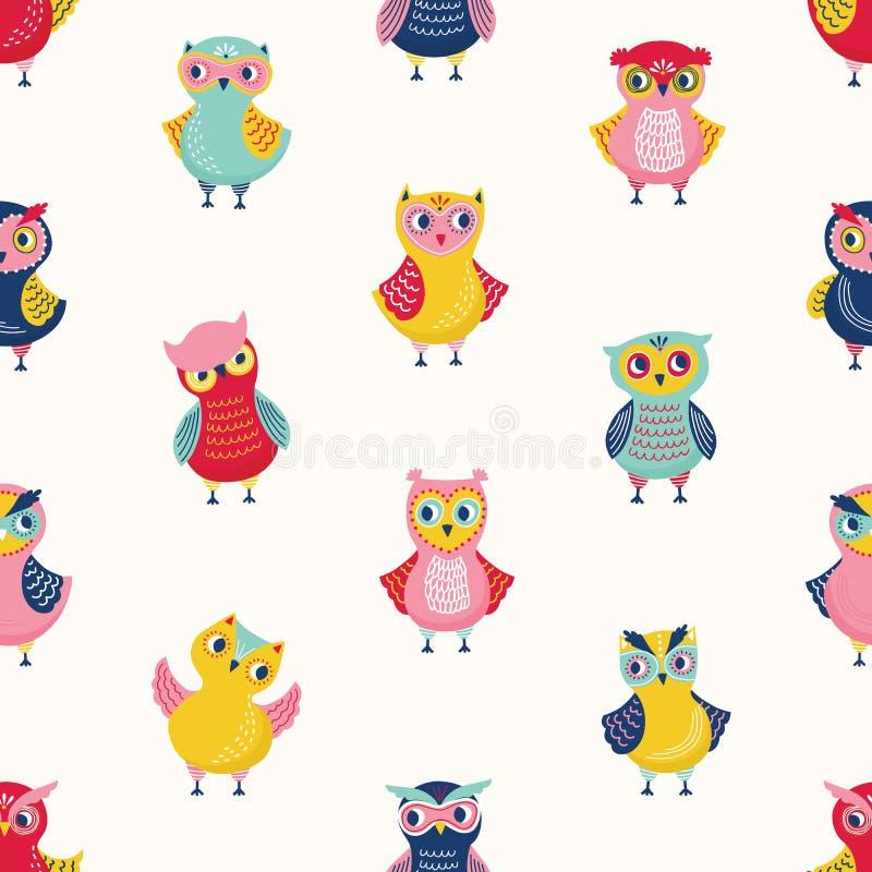 Kinderachtig naadloos patroon met leuke wijze uilen op witte achtergrond Achtergrond met beeldverhaal bosvogels in verschillend stock illustratie