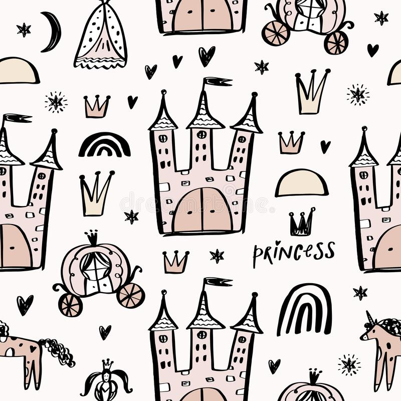 Kinderachtig naadloos patroon met prinses, eenhoorn, kasteel, vervoer in krabbel Skandinavische stijl Creatieve vector kinderacht royalty-vrije illustratie